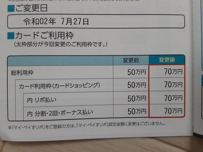 三井住友カードの利用枠が増枠されていた件