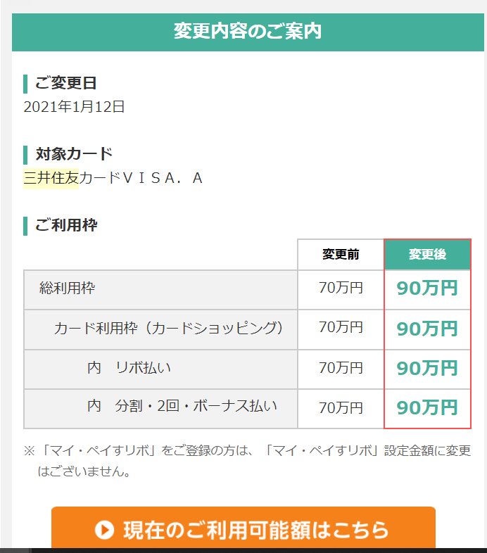 三井住友カード利用枠増加